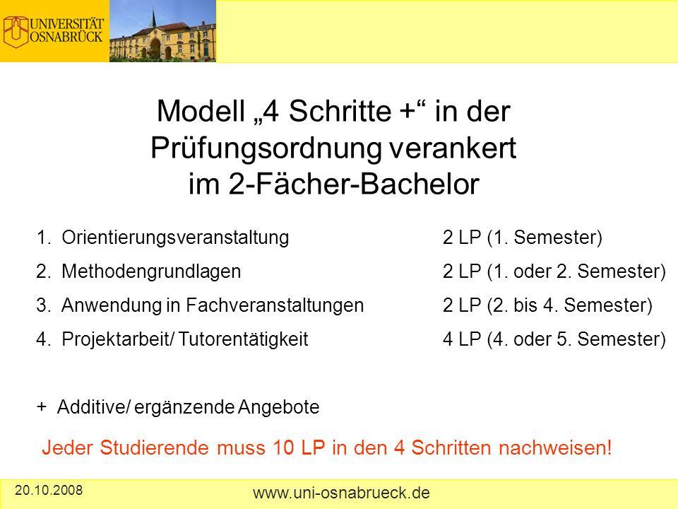 20.10.2008 www.uni-osnabrueck.de Modell 4 Schritte + in der Prüfungsordnung verankert im 2-Fächer-Bachelor 1.Orientierungsveranstaltung 2 LP (1.