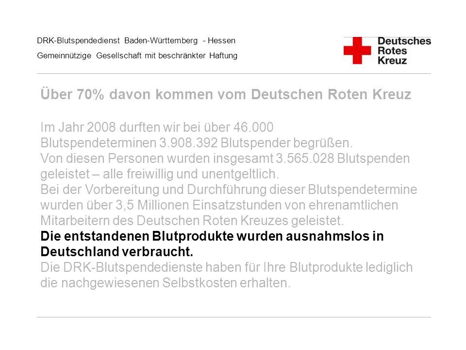 DRK-Blutspendedienst Baden-Württemberg - Hessen Gemeinnützige Gesellschaft mit beschränkter Haftung Über 70% davon kommen vom Deutschen Roten Kreuz Im
