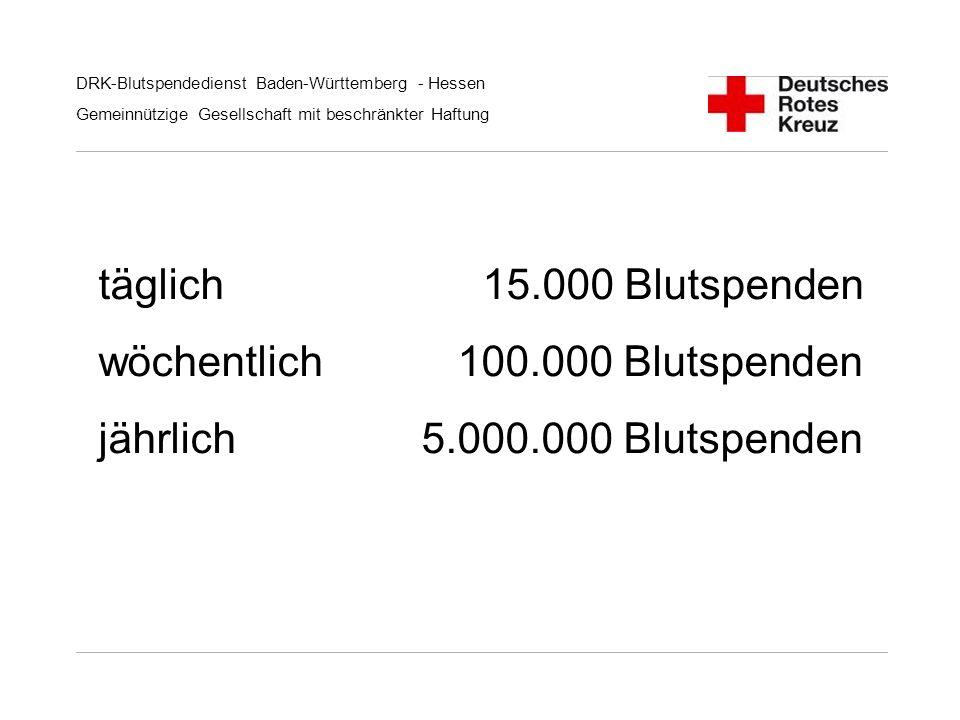 DRK-Blutspendedienst Baden-Württemberg - Hessen Gemeinnützige Gesellschaft mit beschränkter Haftung täglich 15.000 Blutspenden wöchentlich 100.000 Blu