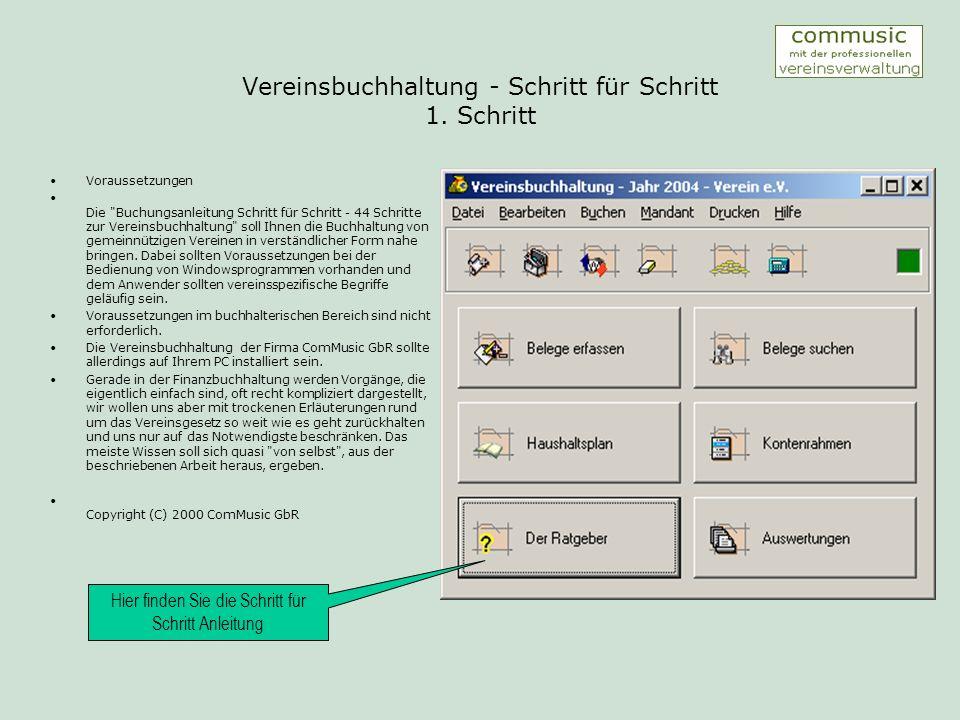 Vereinsbuchhaltung - Schritt für Schritt 2.