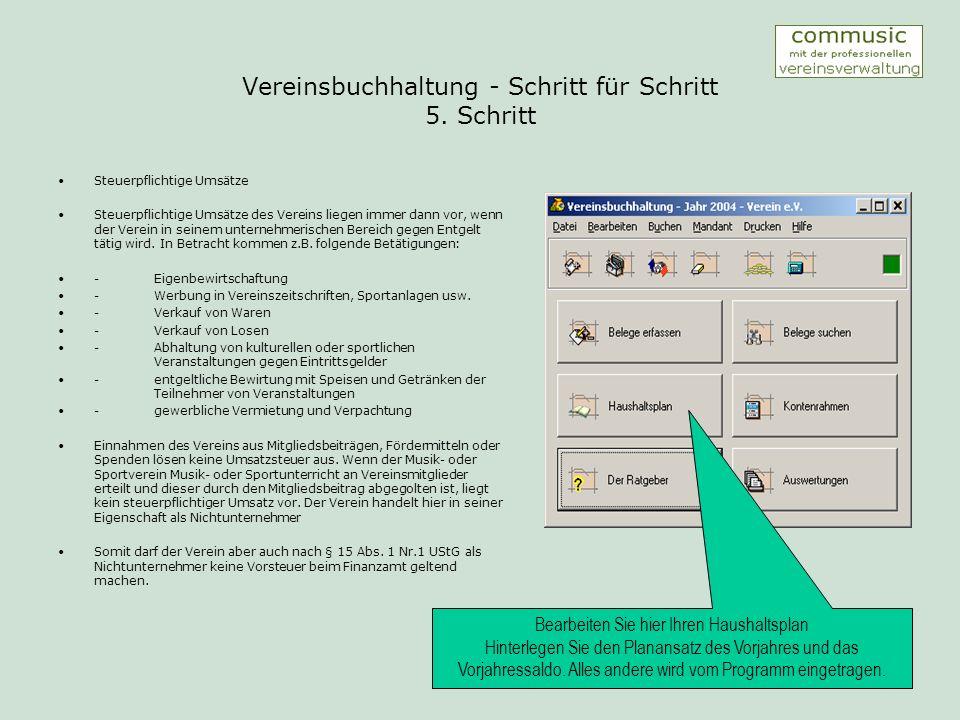 Vereinsbuchhaltung - Schritt für Schritt 6.
