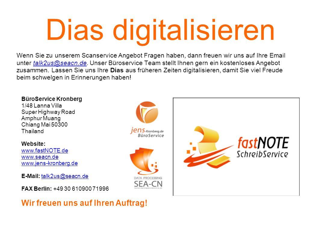 Dias digitalisieren Wenn Sie zu unserem Scanservice Angebot Fragen haben, dann freuen wir uns auf Ihre Email unter talk2us@seacn.de. Unser Büroservice