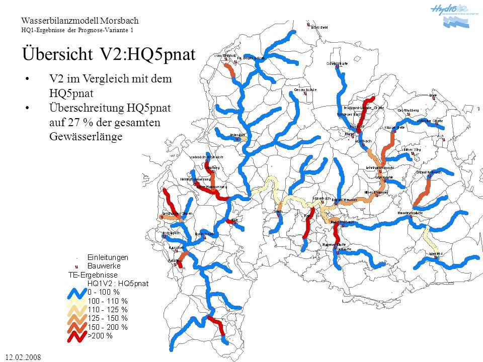 Wasserbilanzmodell Morsbach HQ1-Ergebnisse der Prognose-Variante 1 12.02.2008 Übersicht V2:HQ5pnat V2 im Vergleich mit dem HQ5pnat Überschreitung HQ5pnat auf 27 % der gesamten Gewässerlänge