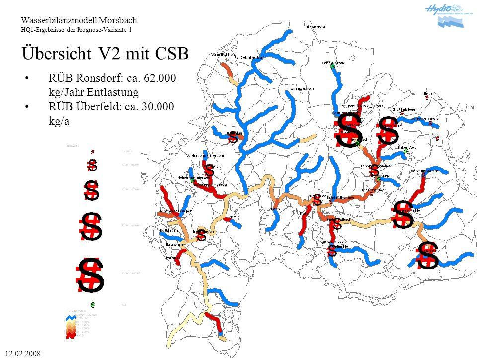 Wasserbilanzmodell Morsbach HQ1-Ergebnisse der Prognose-Variante 1 12.02.2008 Übersicht V2 mit CSB RÜB Ronsdorf: ca.