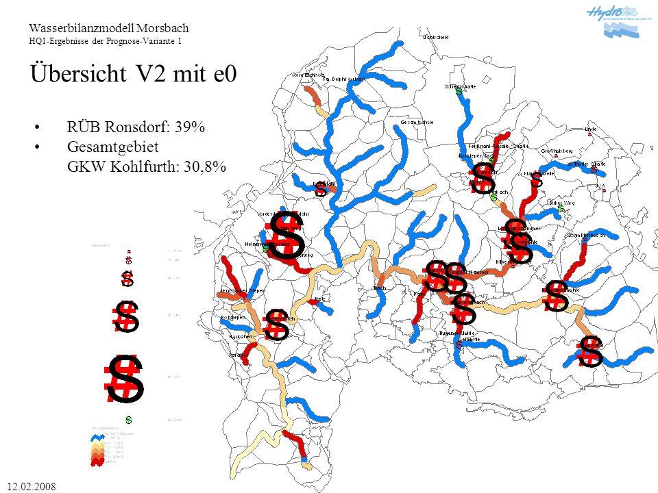 Wasserbilanzmodell Morsbach HQ1-Ergebnisse der Prognose-Variante 1 12.02.2008 Übersicht V2 mit e0 RÜB Ronsdorf: 39% Gesamtgebiet GKW Kohlfurth: 30,8%