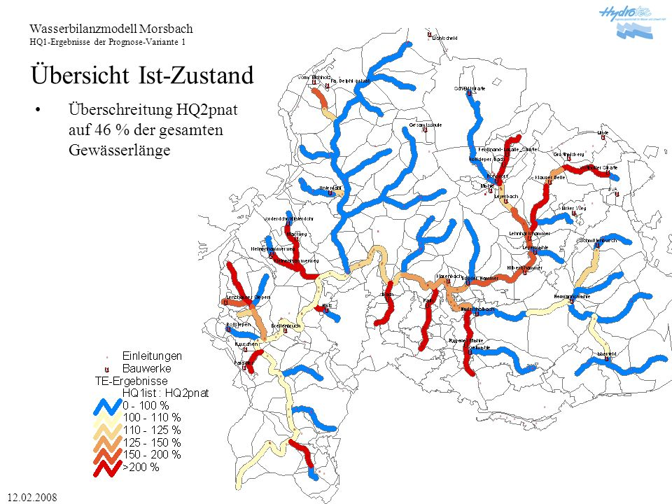 Wasserbilanzmodell Morsbach HQ1-Ergebnisse der Prognose-Variante 1 12.02.2008 Übersicht Ist-Zustand Überschreitung HQ2pnat auf 46 % der gesamten Gewässerlänge