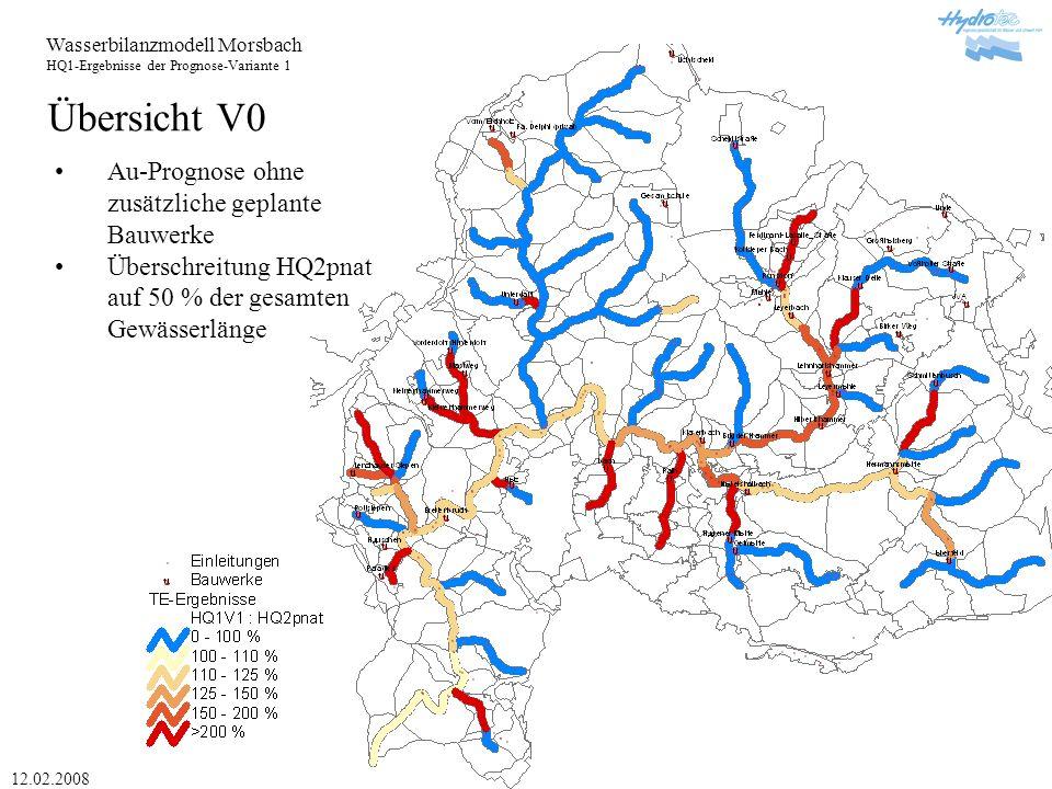 Wasserbilanzmodell Morsbach HQ1-Ergebnisse der Prognose-Variante 1 12.02.2008 Übersicht V1 Au-Prognose mit zusätzlichen Bauwerken Überschreitung HQ2pnat auf 48 % der gesamten Gewässerlänge