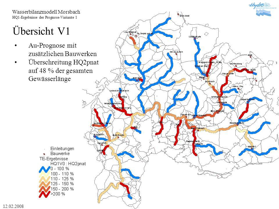 Wasserbilanzmodell Morsbach HQ1-Ergebnisse der Prognose-Variante 1 12.02.2008 Übersicht V2 Au-Prognose mit weiteren geplanten Bauwerken Überschreitung HQ2pnat auf 46 % der gesamten Gewässerlänge