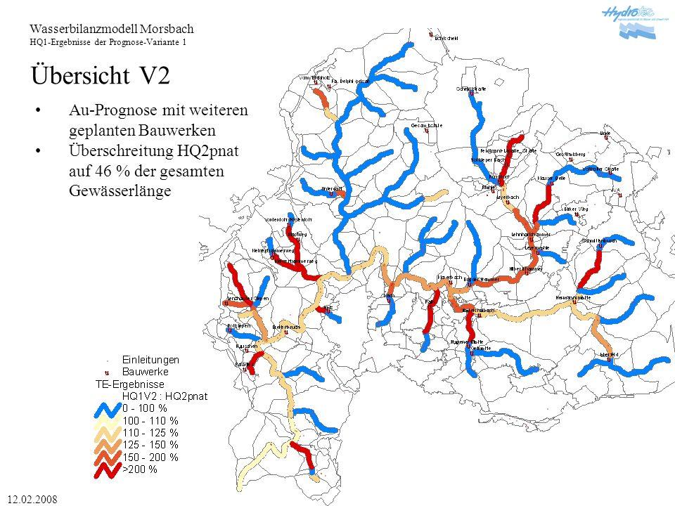 Wasserbilanzmodell Morsbach HQ1-Ergebnisse der Prognose-Variante 1 12.02.2008 Übersicht MAX1 Vorhandene und zusätzliche Bauwerke für Qezul (HQ2pnat- HQ1pnat) optimiert Zwischenstand1