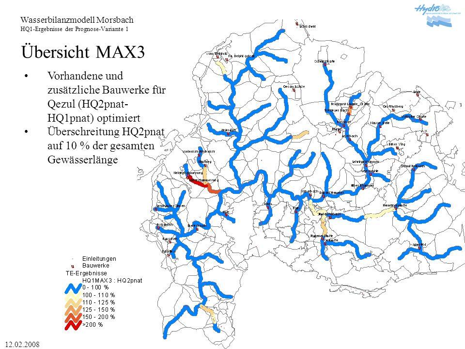 Wasserbilanzmodell Morsbach HQ1-Ergebnisse der Prognose-Variante 1 12.02.2008 Übersicht MAX3 Vorhandene und zusätzliche Bauwerke für Qezul (HQ2pnat- HQ1pnat) optimiert Überschreitung HQ2pnat auf 10 % der gesamten Gewässerlänge