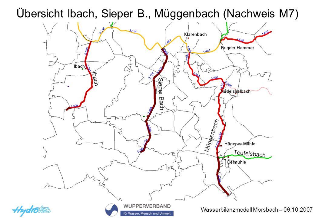 Wasserbilanzmodell Morsbach – 09.10.2007 Übersicht Ibach, Sieper B., Müggenbach (Nachweis M7)