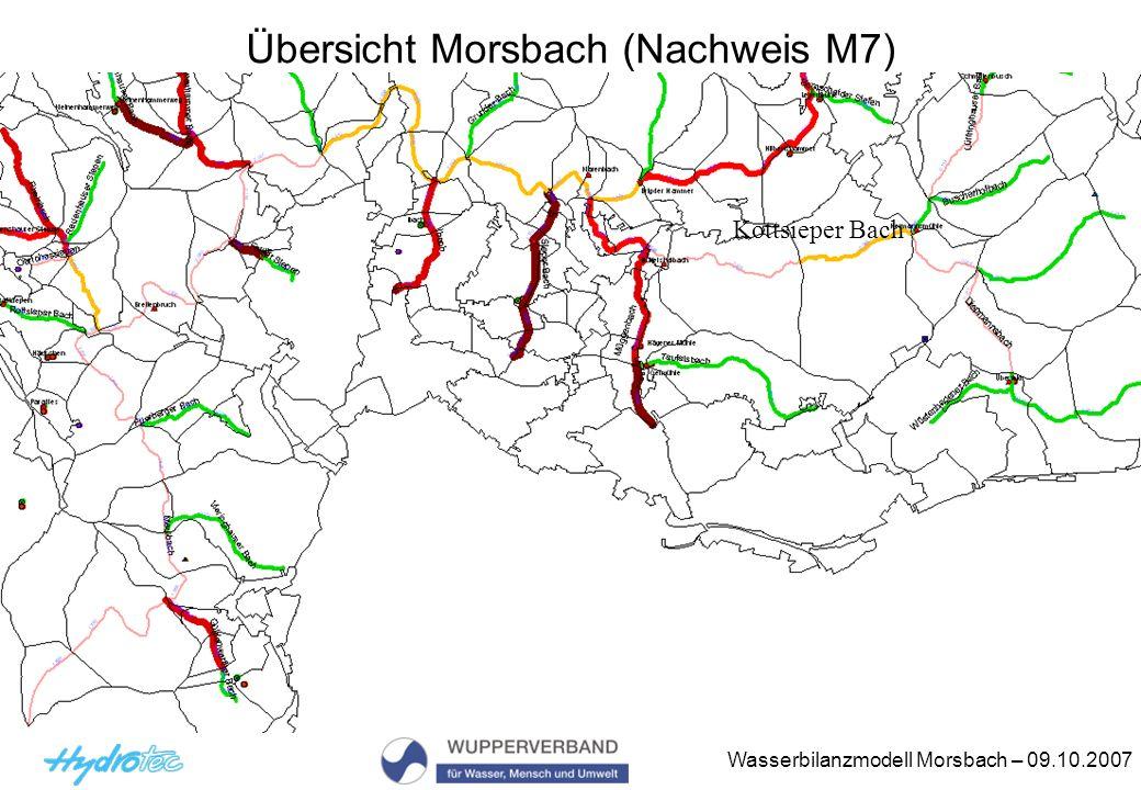Wasserbilanzmodell Morsbach – 09.10.2007 Übersicht Morsbach (Nachweis M7) Kottsieper Bach