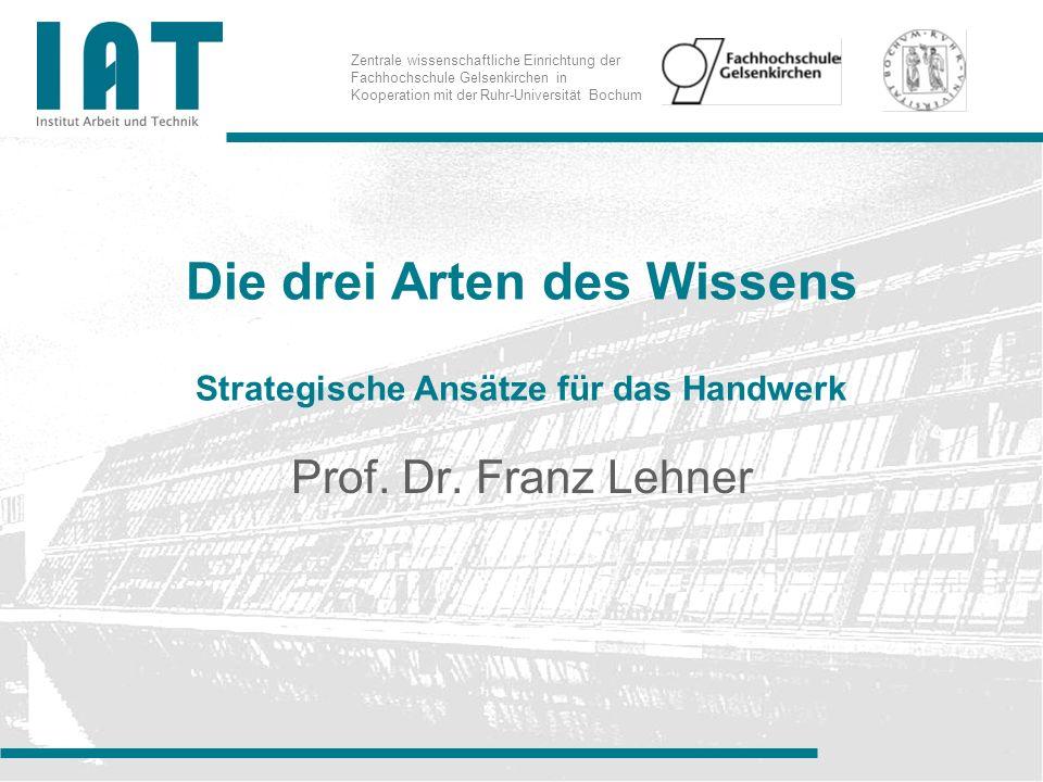 Zentrale wissenschaftliche Einrichtung der Fachhochschule Gelsenkirchen in Kooperation mit der Ruhr-Universität Bochum Die drei Arten des Wissens Strategische Ansätze für das Handwerk Prof.