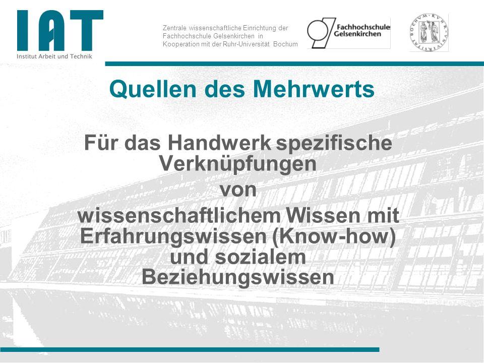 Zentrale wissenschaftliche Einrichtung der Fachhochschule Gelsenkirchen in Kooperation mit der Ruhr-Universität Bochum Quellen des Mehrwerts Für das Handwerk spezifische Verknüpfungen von wissenschaftlichem Wissen mit Erfahrungswissen (Know-how) und sozialem Beziehungswissen