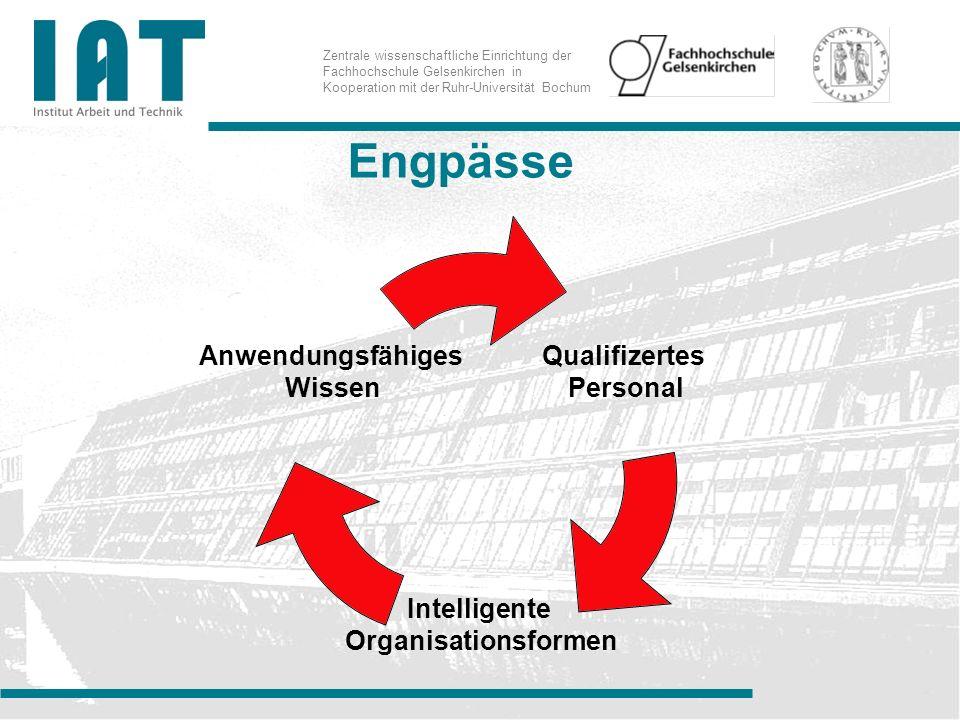 Zentrale wissenschaftliche Einrichtung der Fachhochschule Gelsenkirchen in Kooperation mit der Ruhr-Universität Bochum Engpässe Qualifizertes Personal Intelligente Organisationsforme n Anwendungsfähiges Wissen