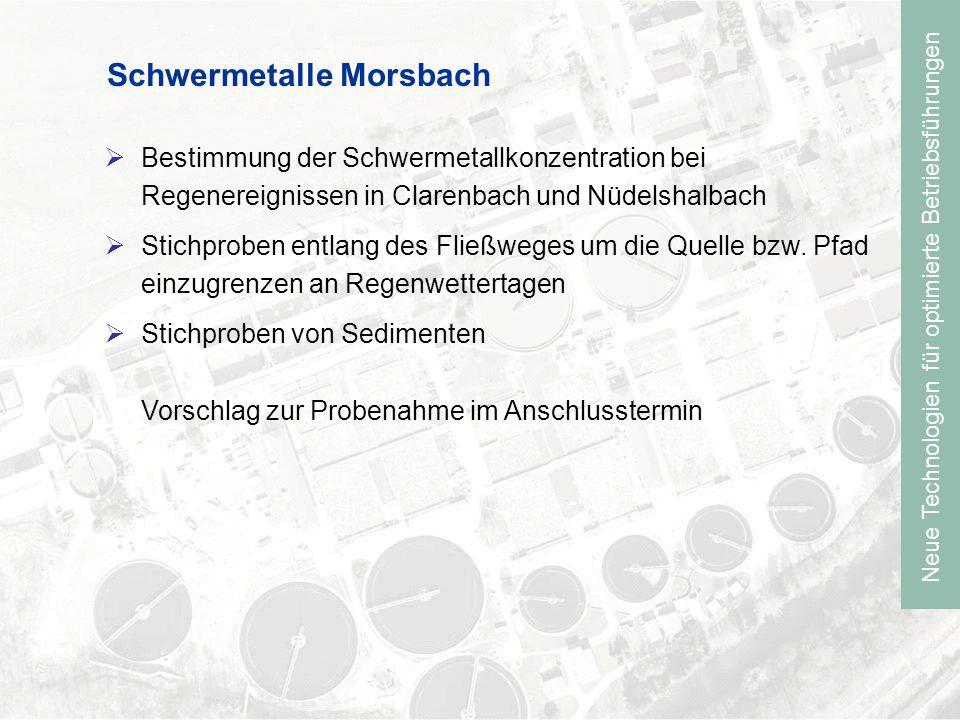 Neue Technologien für optimierte Betriebsführungen Schwermetalle Morsbach Bestimmung der Schwermetallkonzentration bei Regenereignissen in Clarenbach und Nüdelshalbach Stichproben entlang des Fließweges um die Quelle bzw.