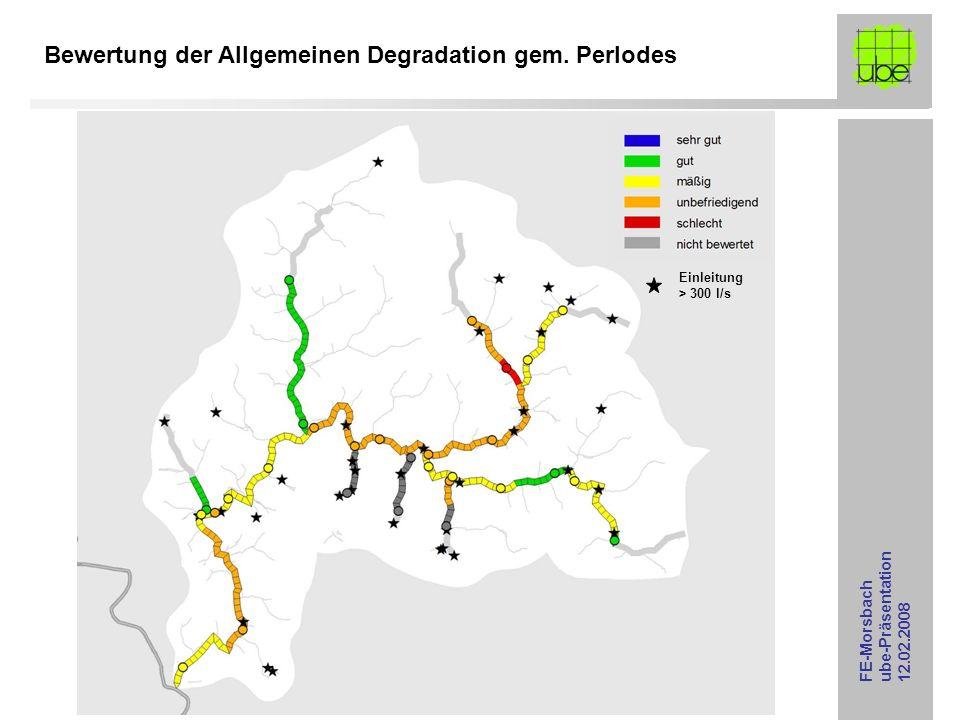 FE-Morsbach ube-Präsentation 12.02.2008 Bewertung der Allgemeinen Degradation gem. Perlodes Einleitung > 300 l/s