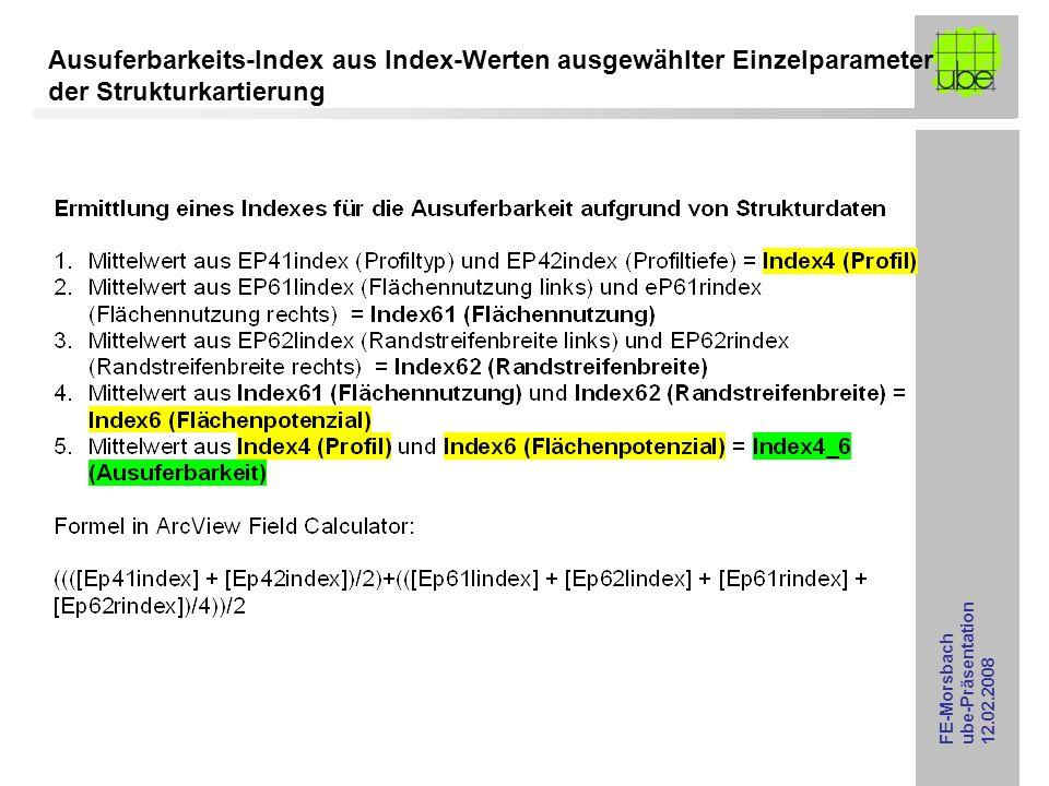 FE-Morsbach ube-Präsentation 12.02.2008 Ausuferbarkeit [3-stufig: gering: dunkel-lila, mittel: hell-lila, hoch: blau] aus Strukturkartierungsdaten Einleitung > 300 l/s