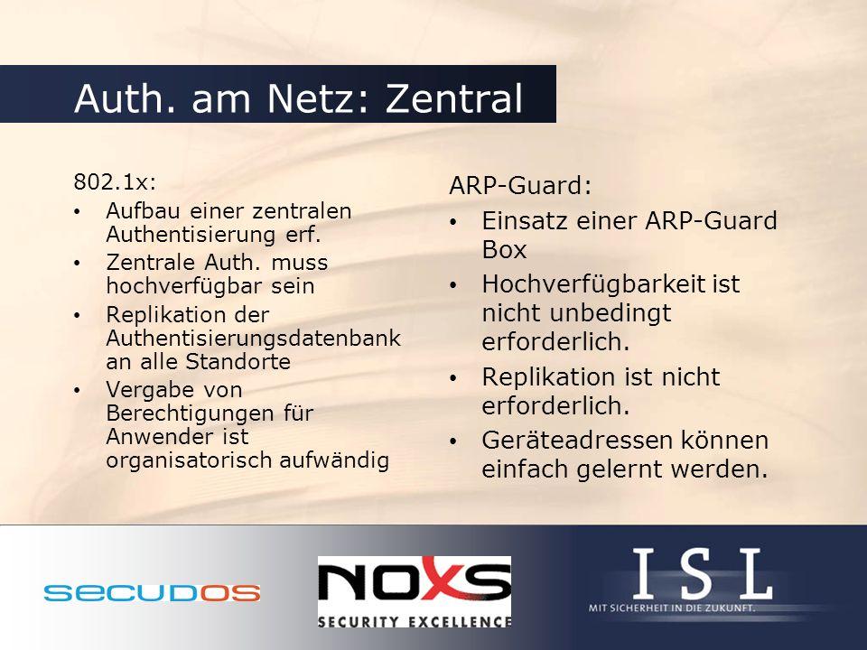 Auth. am Netz: Zentral 802.1x: Aufbau einer zentralen Authentisierung erf. Zentrale Auth. muss hochverfügbar sein Replikation der Authentisierungsdate