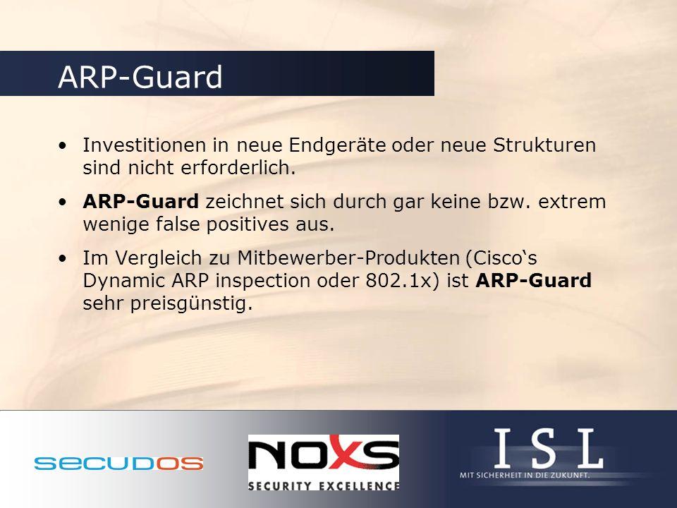 ARP-Guard Investitionen in neue Endgeräte oder neue Strukturen sind nicht erforderlich. ARP-Guard zeichnet sich durch gar keine bzw. extrem wenige fal