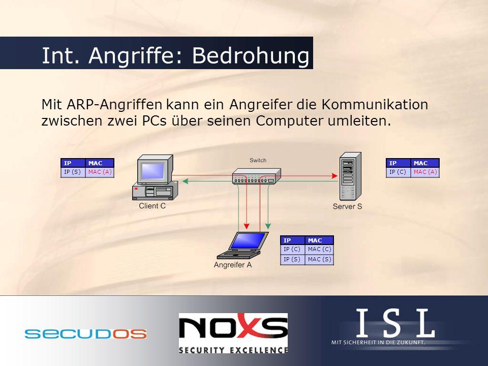 Int. Angriffe: Bedrohung Mit ARP-Angriffen kann ein Angreifer die Kommunikation zwischen zwei PCs über seinen Computer umleiten. IPMAC IP (C)MAC (A) I