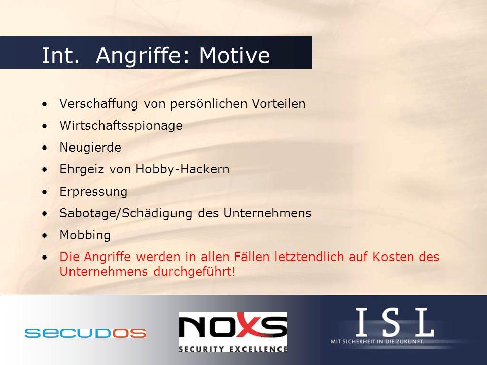Int. Angriffe: Motive Verschaffung von persönlichen Vorteilen Wirtschaftsspionage Neugierde Ehrgeiz von Hobby-Hackern Erpressung Sabotage/Schädigung d