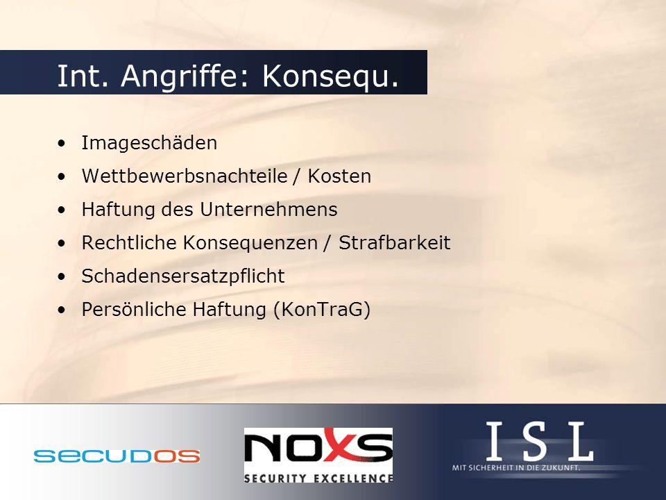 Int. Angriffe: Konsequ. Imageschäden Wettbewerbsnachteile / Kosten Haftung des Unternehmens Rechtliche Konsequenzen / Strafbarkeit Schadensersatzpflic