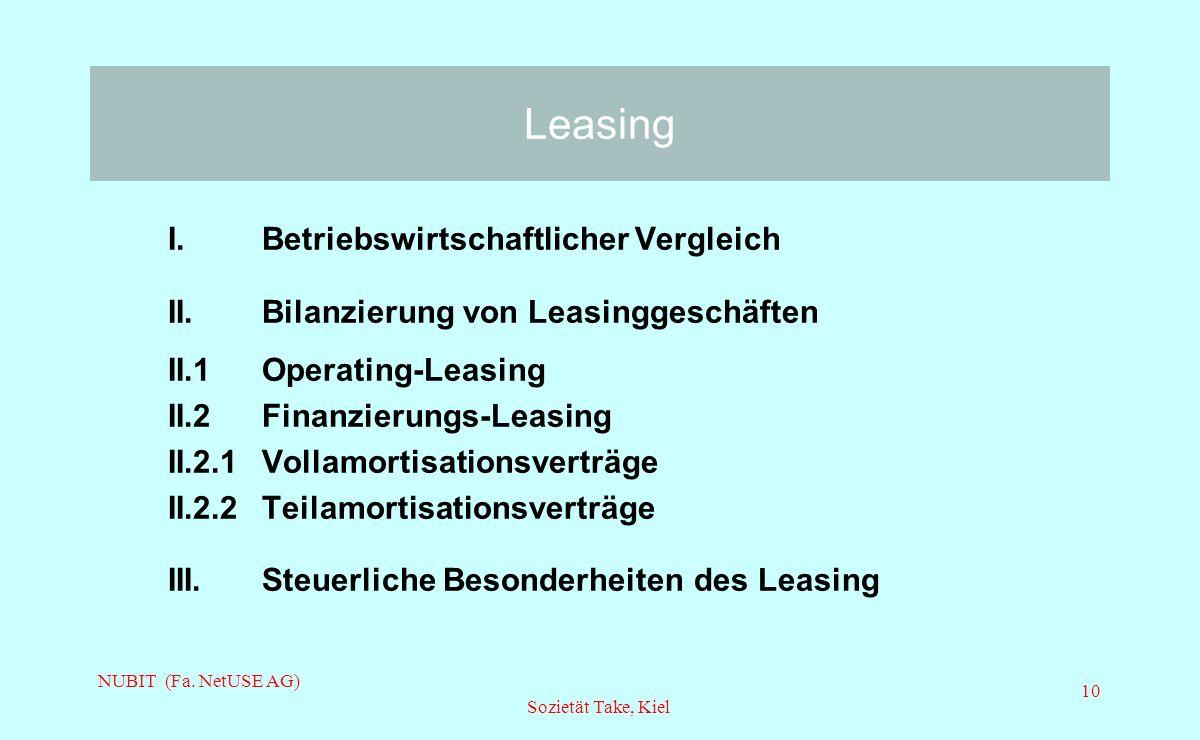 NUBIT (Fa. NetUSE AG) Sozietät Take, Kiel 10 Leasing I. Betriebswirtschaftlicher Vergleich II.Bilanzierung von Leasinggeschäften II.1 Operating-Leasin