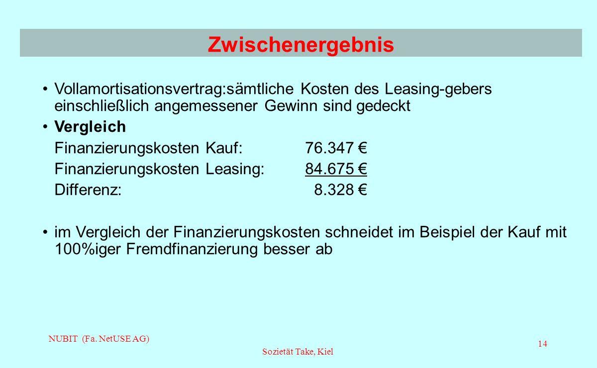 NUBIT (Fa. NetUSE AG) Sozietät Take, Kiel 14 Vollamortisationsvertrag:sämtliche Kosten des Leasing-gebers einschließlich angemessener Gewinn sind gede