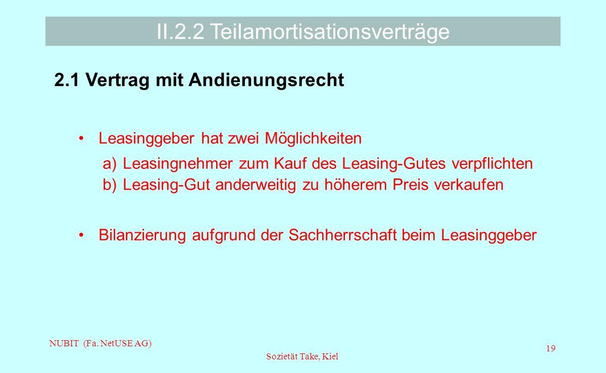 NUBIT (Fa. NetUSE AG) Sozietät Take, Kiel 19 II.2.2 Teilamortisationsverträge 2.1 Vertrag mit Andienungsrecht Leasinggeber hat zwei Möglichkeiten a)Le