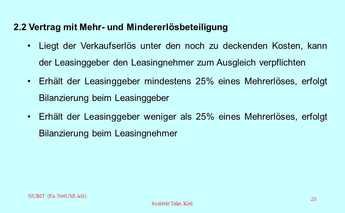 NUBIT (Fa. NetUSE AG) Sozietät Take, Kiel 20 2.2 Vertrag mit Mehr- und Mindererlösbeteiligung Liegt der Verkaufserlös unter den noch zu deckenden Kost