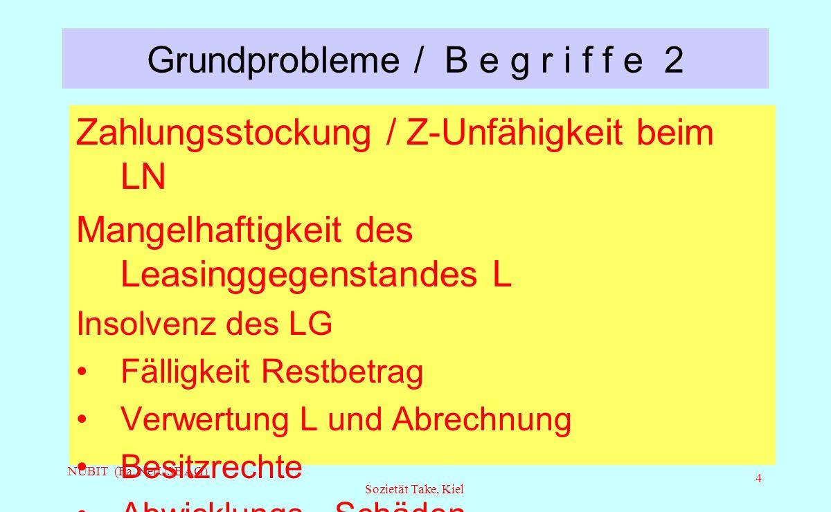 NUBIT (Fa. NetUSE AG) Sozietät Take, Kiel 4 Grundprobleme / B e g r i f f e 2 Zahlungsstockung / Z-Unfähigkeit beim LN Mangelhaftigkeit des Leasinggeg