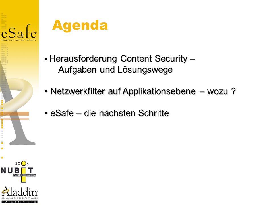 Herausforderung Content Security – Herausforderung Content Security – Aufgaben und Lösungswege Netzwerkfilter auf Applikationsebene – wozu .