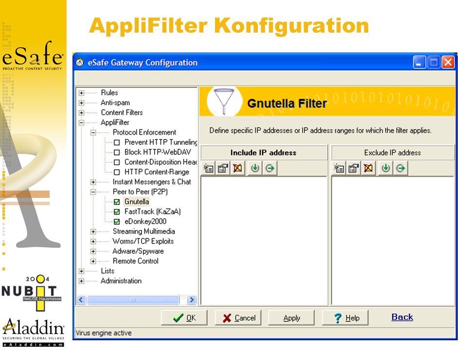 AppliFilter Konfiguration