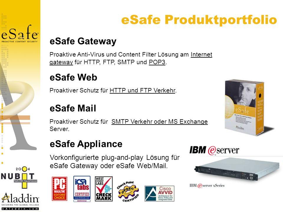 eSafe Gateway Proaktive Anti-Virus und Content Filter Lösung am Internet gateway für HTTP, FTP, SMTP und POP3.