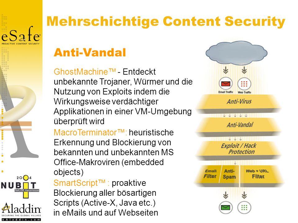 Mehrschichtige Content Security Anti-Vandal MacroTerminator: heuristische Erkennung und Blockierung von bekannten und unbekannten MS Office-Makroviren (embedded objects) GhostMachine - Entdeckt unbekannte Trojaner, Würmer und die Nutzung von Exploits indem die Wirkungsweise verdächtiger Applikationen in einer VM-Umgebung überprüft wird SmartScript : proaktive Blockierung aller bösartigen Scripts (Active-X, Java etc.) in eMails und auf Webseiten