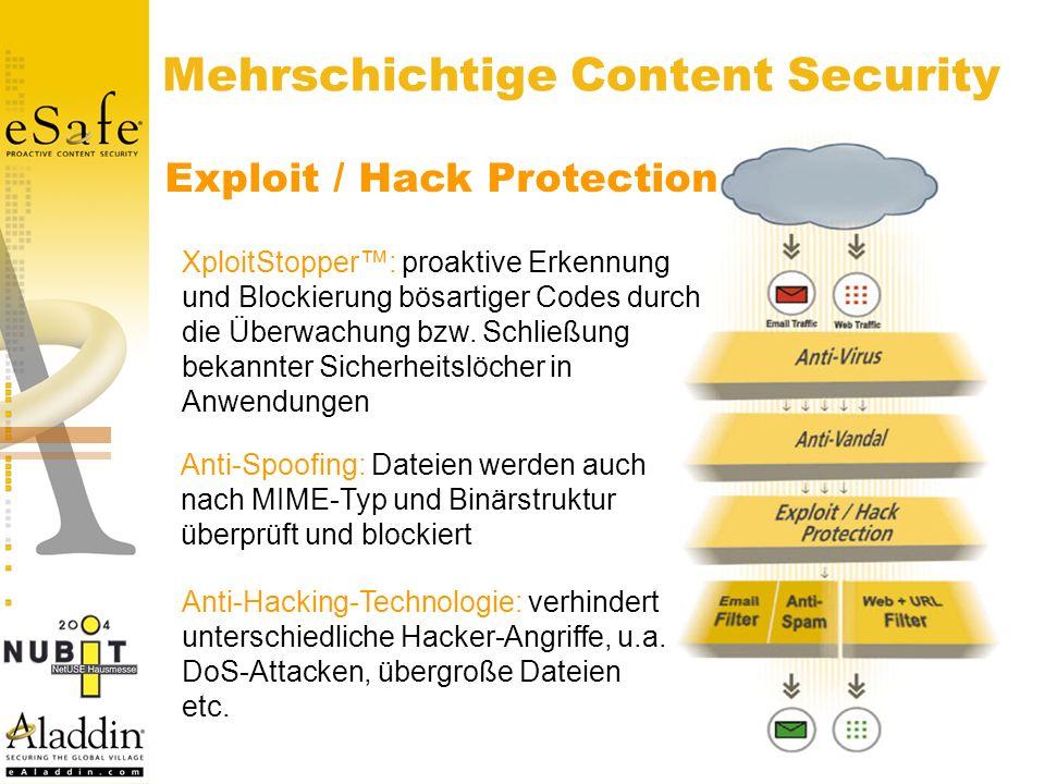 Mehrschichtige Content Security Exploit / Hack Protection XploitStopper: proaktive Erkennung und Blockierung bösartiger Codes durch die Überwachung bzw.