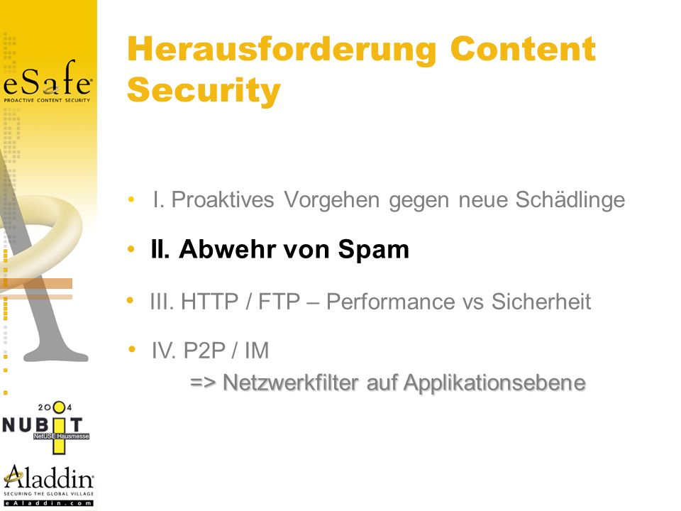 Herausforderung Content Security I. Proaktives Vorgehen gegen neue Schädlinge II.