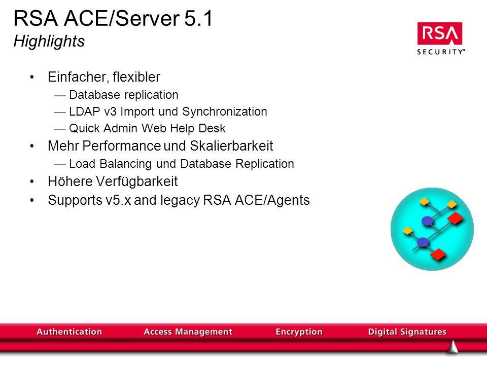 RSA ACE/Server 5.1 Highlights Einfacher, flexibler Database replication LDAP v3 Import und Synchronization Quick Admin Web Help Desk Mehr Performance und Skalierbarkeit Load Balancing und Database Replication Höhere Verfügbarkeit Supports v5.x and legacy RSA ACE/Agents