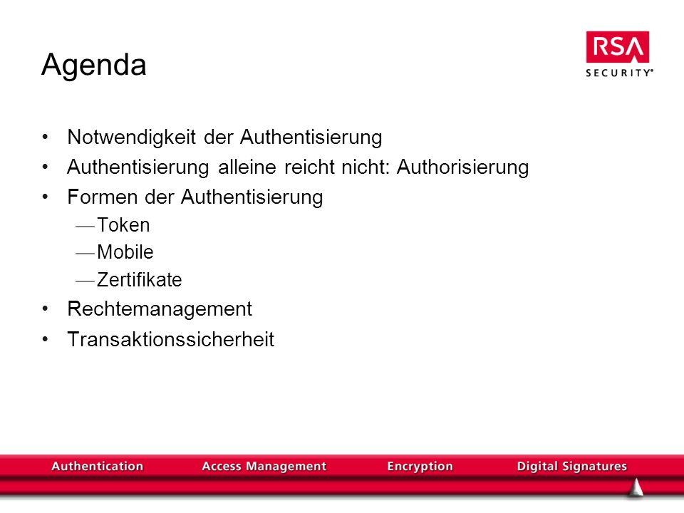 Agenda Notwendigkeit der Authentisierung Authentisierung alleine reicht nicht: Authorisierung Formen der Authentisierung Token Mobile Zertifikate Rechtemanagement Transaktionssicherheit