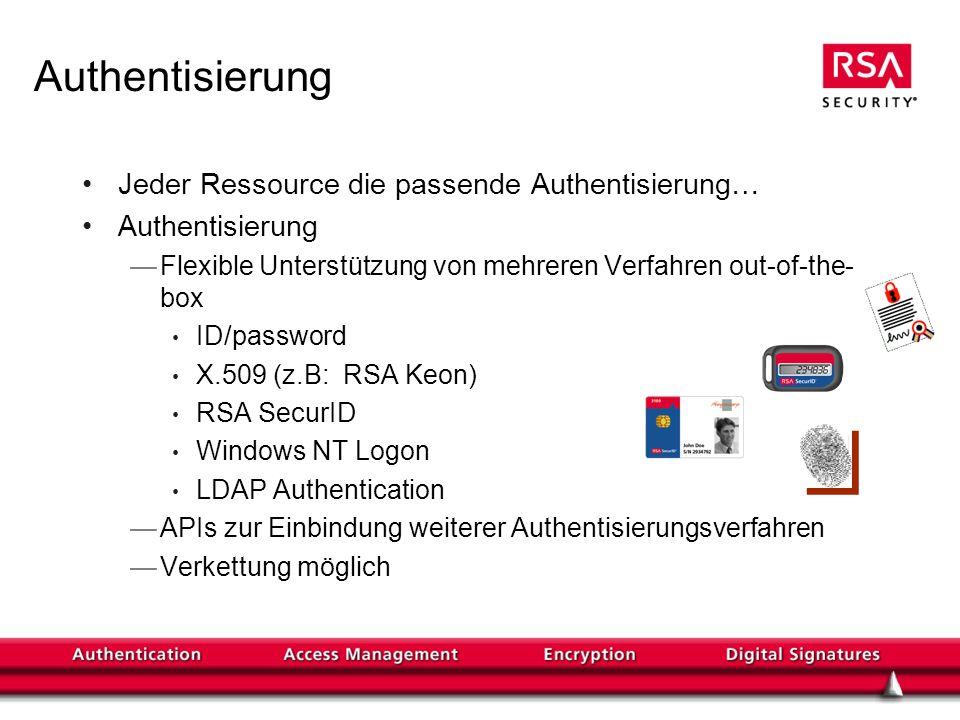 Authentisierung Jeder Ressource die passende Authentisierung… Authentisierung Flexible Unterstützung von mehreren Verfahren out-of-the- box ID/password X.509 (z.B: RSA Keon) RSA SecurID Windows NT Logon LDAP Authentication APIs zur Einbindung weiterer Authentisierungsverfahren Verkettung möglich