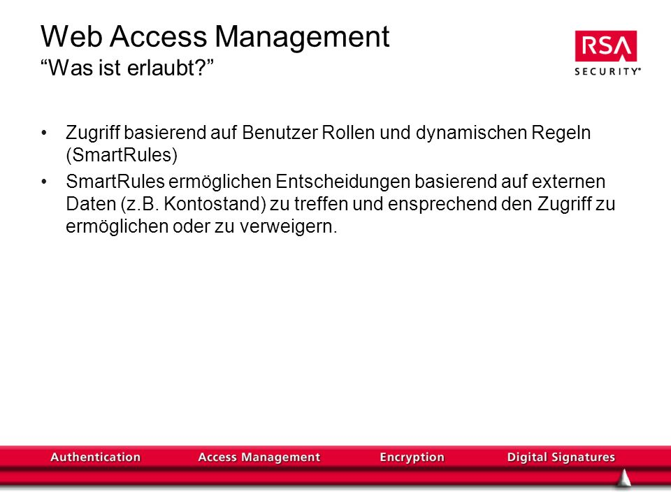 Web Access Management Was ist erlaubt.