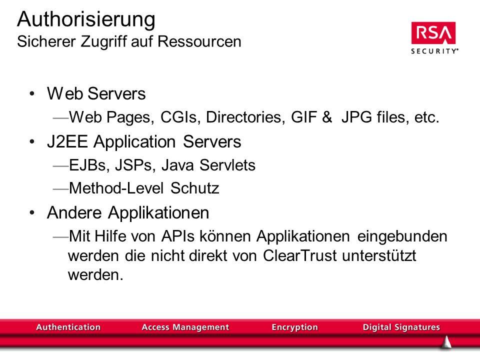 Authorisierung Sicherer Zugriff auf Ressourcen Web Servers Web Pages, CGIs, Directories, GIF & JPG files, etc.