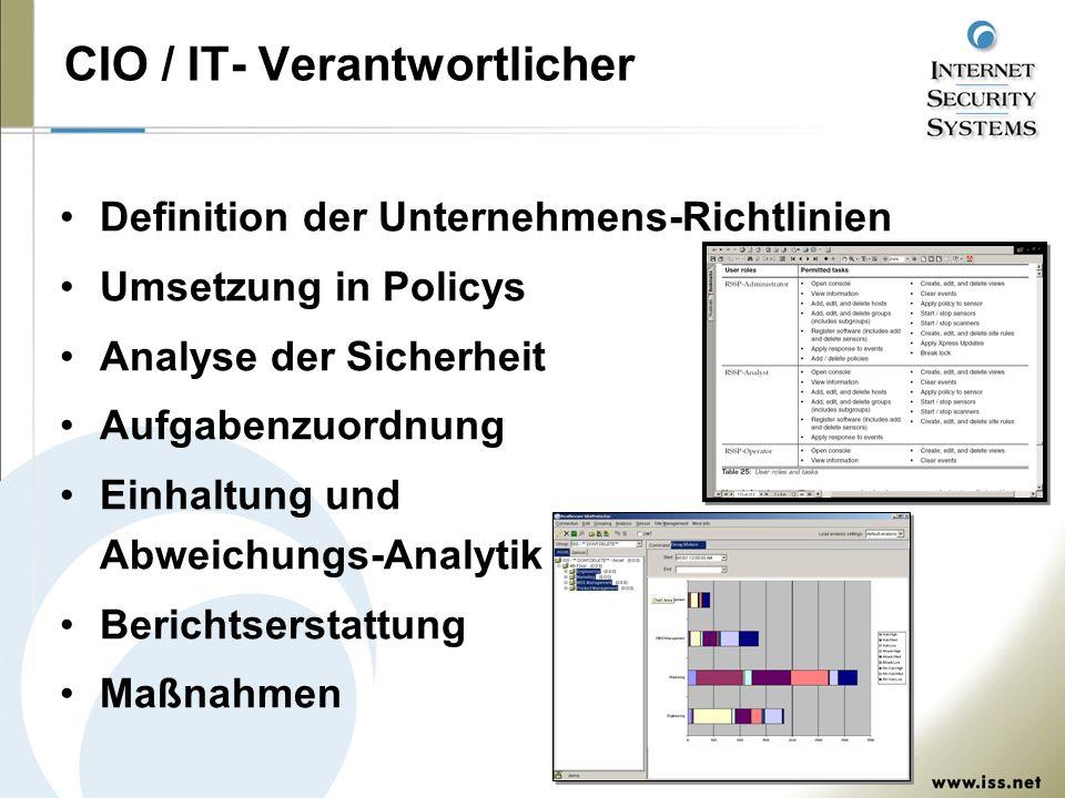 CIO / IT- Verantwortlicher Definition der Unternehmens-Richtlinien Umsetzung in Policys Analyse der Sicherheit Aufgabenzuordnung Einhaltung und Abweichungs-Analytik Berichtserstattung Maßnahmen