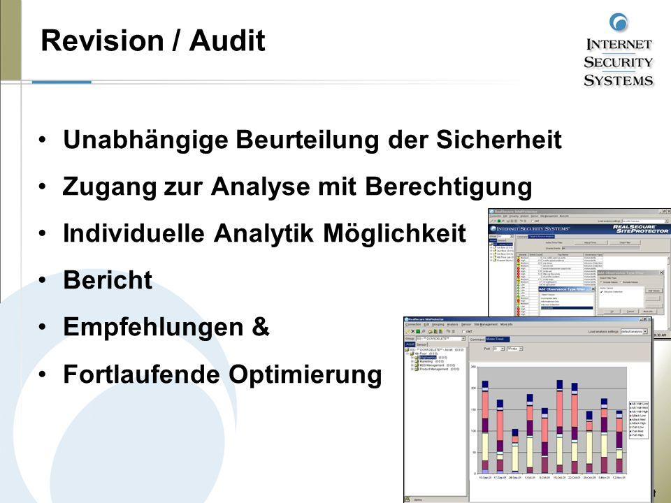 Revision / Audit Unabhängige Beurteilung der Sicherheit Zugang zur Analyse mit Berechtigung Individuelle Analytik Möglichkeit Bericht Empfehlungen & Fortlaufende Optimierung
