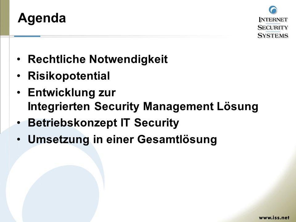 Agenda Rechtliche Notwendigkeit Risikopotential Entwicklung zur Integrierten Security Management Lösung Betriebskonzept IT Security Umsetzung in einer Gesamtlösung