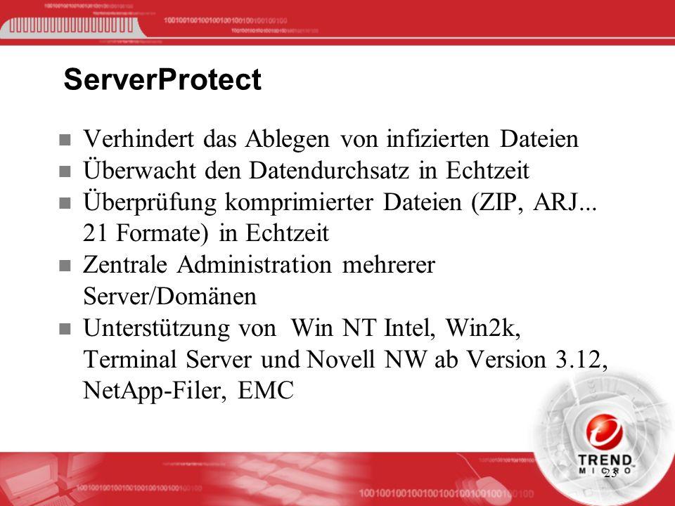 23 ServerProtect n Verhindert das Ablegen von infizierten Dateien n Überwacht den Datendurchsatz in Echtzeit n Überprüfung komprimierter Dateien (ZIP,