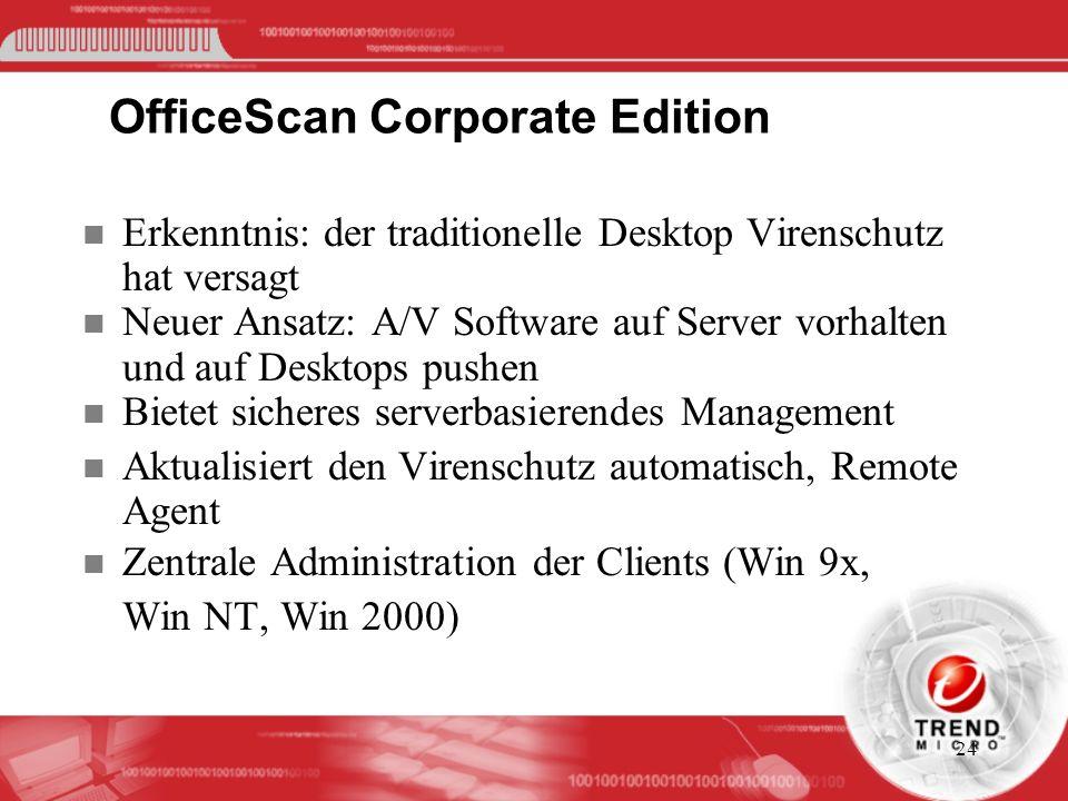 24 OfficeScan Corporate Edition n Erkenntnis: der traditionelle Desktop Virenschutz hat versagt n Neuer Ansatz: A/V Software auf Server vorhalten und
