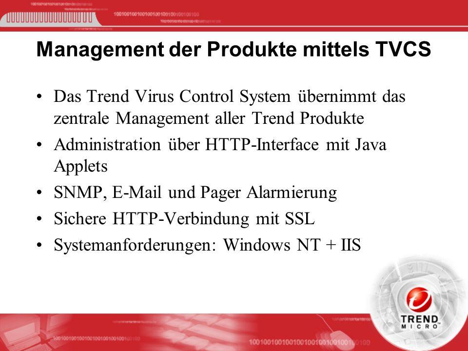 Management der Produkte mittels TVCS Das Trend Virus Control System übernimmt das zentrale Management aller Trend Produkte Administration über HTTP-In