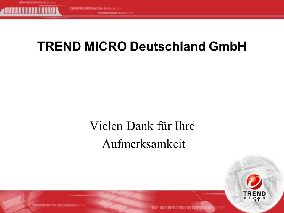 29 TREND MICRO Deutschland GmbH Vielen Dank für Ihre Aufmerksamkeit